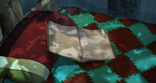 A diary lying open on a quilt